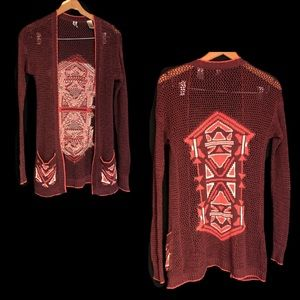 BKE sz S maroon Aztec long knit cardigan pockets